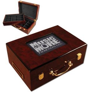 Glossy Wood Poker Chip Case w/Customizable Picture Frame (500 Chip Capacity)