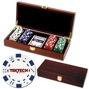 100 Foil Stamped poker chips in wooden Mahogany case - Dice design