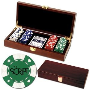100 Foil Stamped poker chips in wooden Mahogany case - Card design