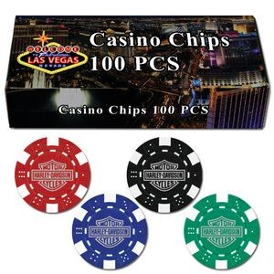 100 Hot-Stamped Dice Poker Chips in Gift/Retail Box