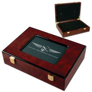 Glossy Wood Poker Chip Case w/Customizable Picture Frame (200 Chip Capacity)