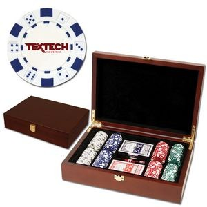200 Foil Stamped poker chips in wooden Mahogany case - Dice design